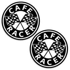 2 x CAFE RACER AUFKLEBER AUTO MOTO STICKERS ZIELFLAGGE MOTORRAD RENNEN B 140