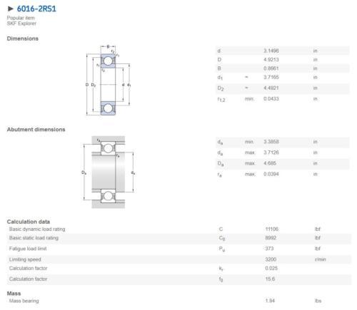 SKF 6007-2RS1 Deep Groove Ball Bearings 35x62x14 mm