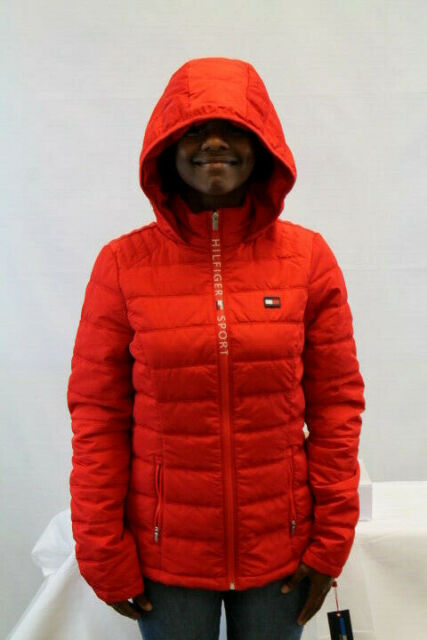 wholesale new items hot-selling newest TOMMY HILFIGER WOMEN QUILTED HILFIGER SPORT HOODIE JACKET RED TP84265J