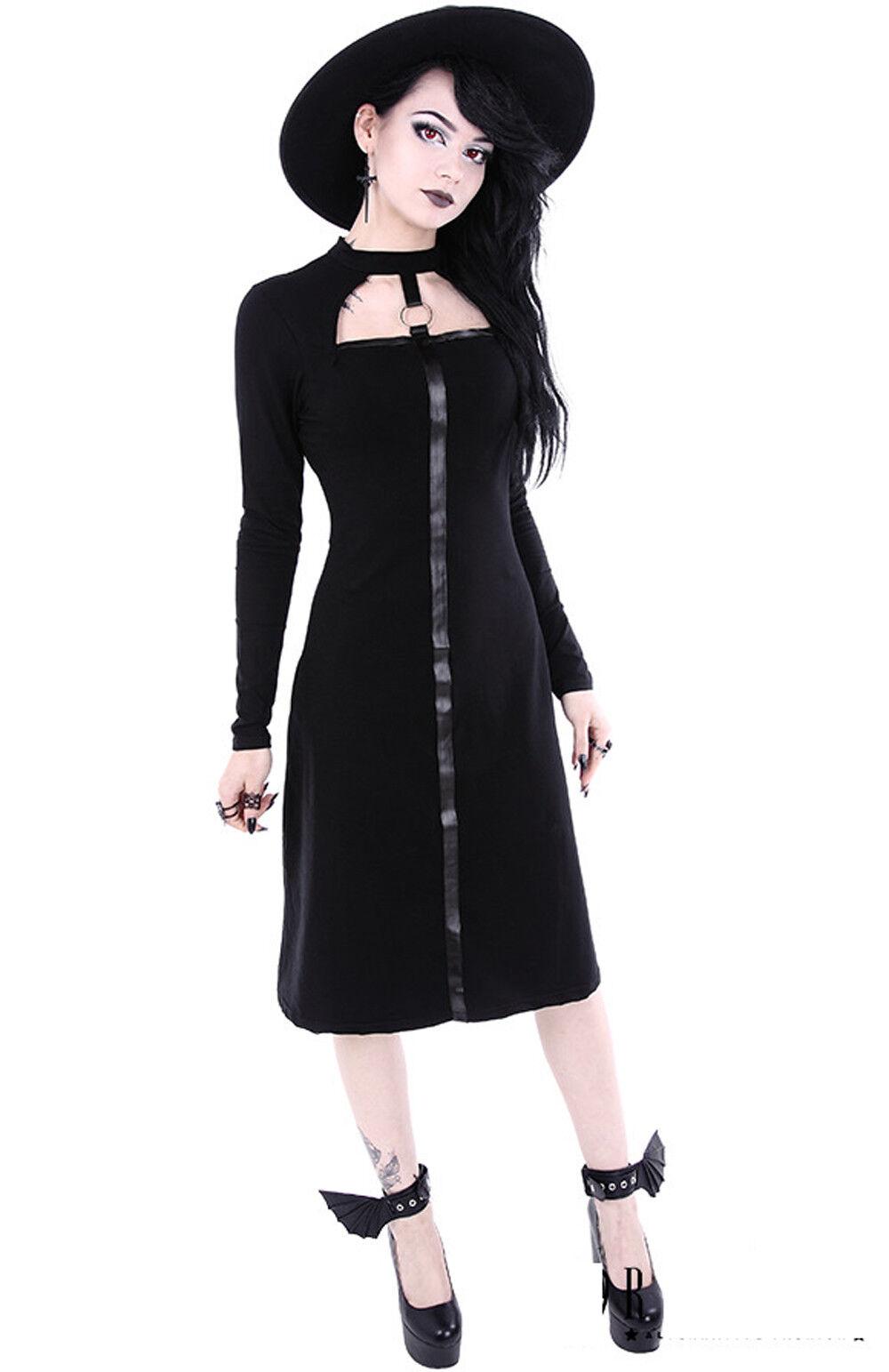 Restyle Langarm Kleid O-Ring Dress Kunstleder band Schwarz Gothic Figur betont