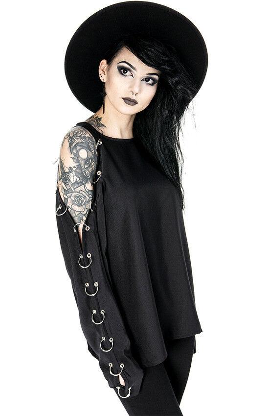 Restyle Kalte Schulter Gebohrt O-Ring Gotischer Punk Hexe BlauSE Überdimensional