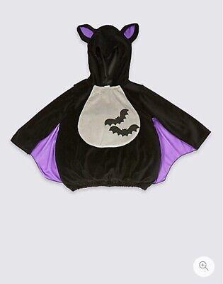 2019 Moda M&s Bambini Bat Fancy Dress Up Vestito Halloween 2 - 3 Anni Nuovo Con Etichetta-mostra Il Titolo Originale