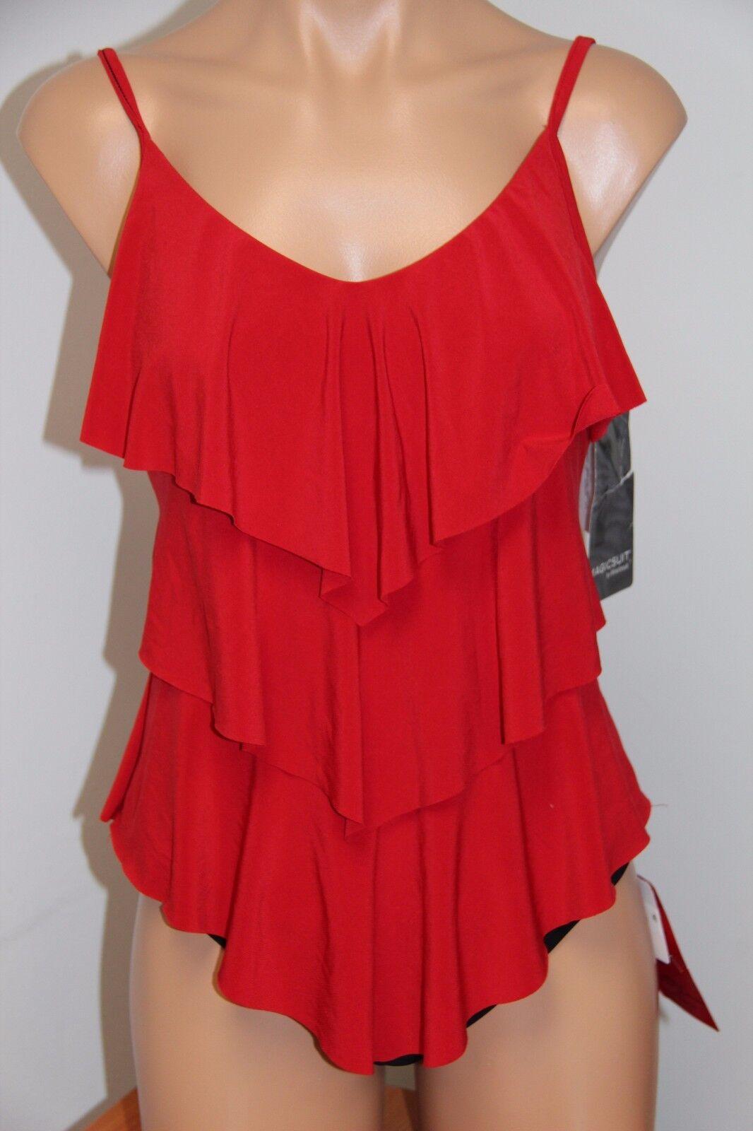NWT Magic Suit Swimsuit Tankini 2 pc set sz 8 Red Ruffle High Waist
