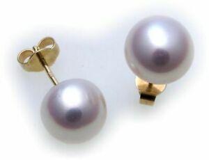 Donna Orecchini Vero Chiusura a Farfalla Perle Coltivate 10,5 MM Oro 585 Giallo