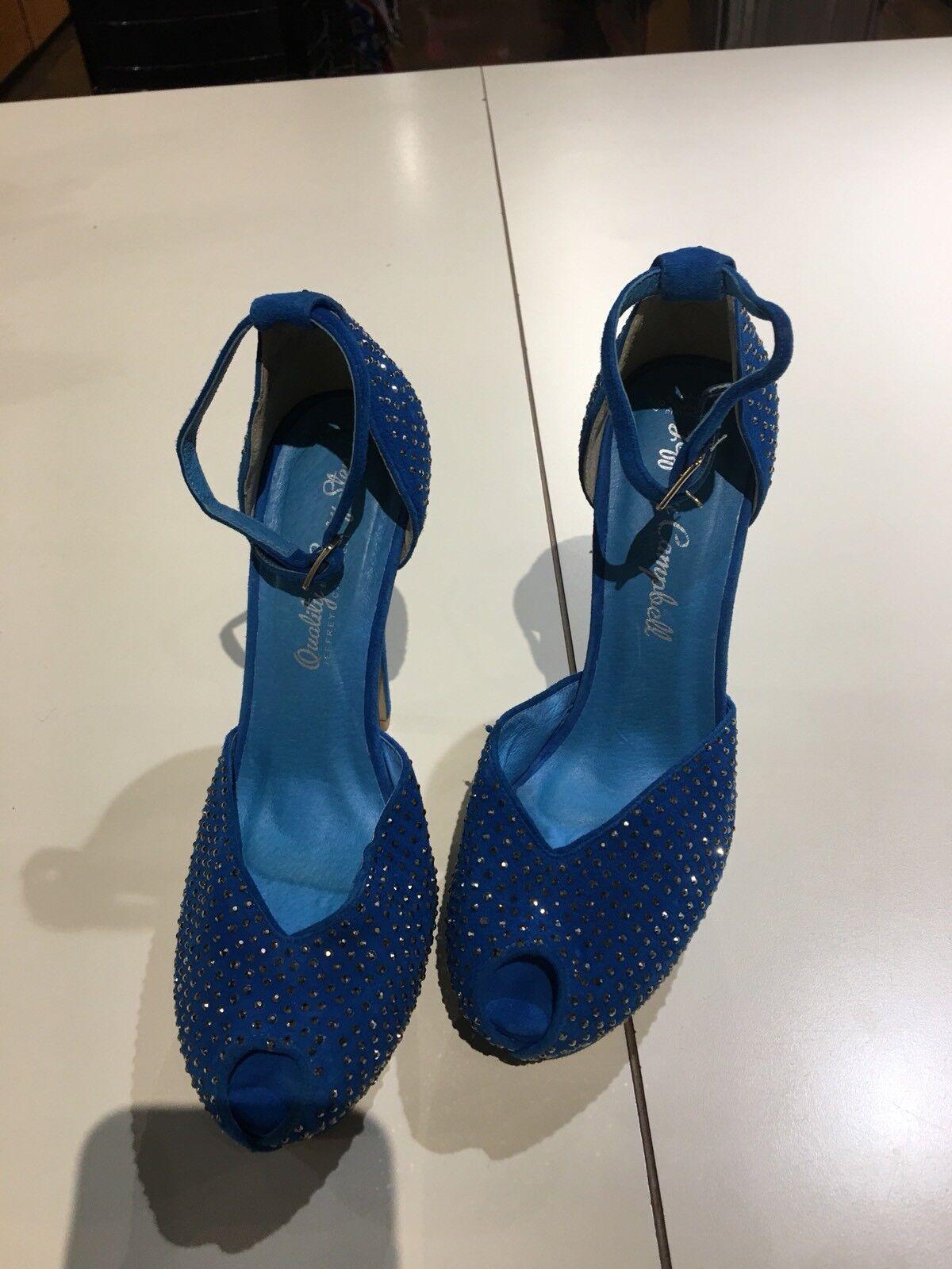 Jeffrey Campbell Midler Studded Heels Open Toe bluee bluee bluee Suede shoes Size 7.5 7b21be
