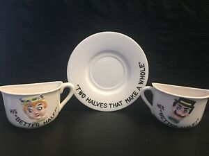 Details About Two Halves That Make A Whole Saucer Plate And His Hers Half Coffee Cups