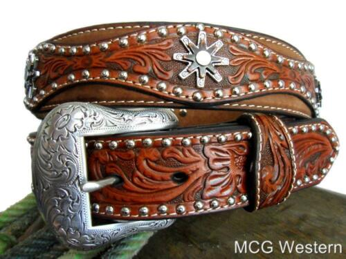 Nocona Western Mens Belt Leather Tooled Studs Spur Conchos Brown N2504208