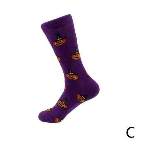 Herren Damen Baumwolle Socken Neuheit Halloween Hexe Kürbis Schädel Kleid S N4V7