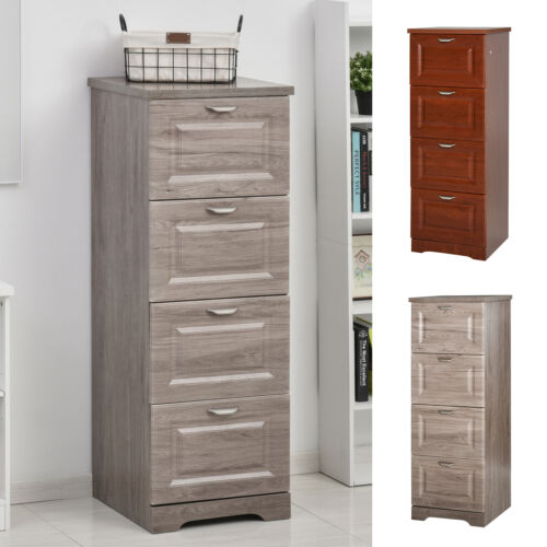 HOMCOM 4 Drawer Vertical File Cabinets Enclosed Storage Cabinet with File