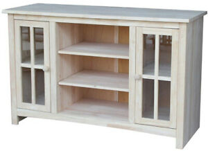 Details About Entertainment Center Tv Stand Unfinished Solid Wood Parawood Adjule Shelves