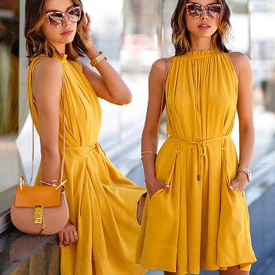 Sexy Women Summer Casual Sleeveless Evening Party Beach Dress Short Mini Dress