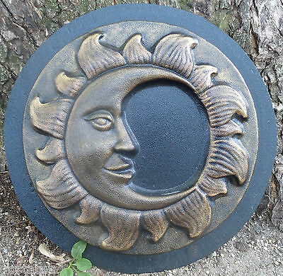 """Sun plaque mold concrete plaster casting garden mould 9.75/"""" x 3//4/"""" thick"""