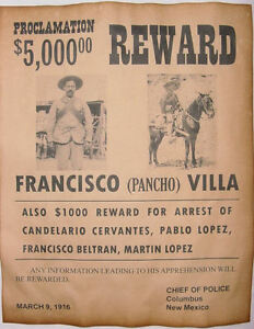 Francisco Pancho Villa Wanted Poster, Western, Mexican Outlaw, Old West, Bandit | eBay