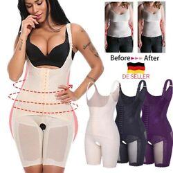 Slim Mieder Anzug Bauchweg Body Shaper für Damen Bauch Beine Po Brust-Push UP DE