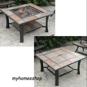 Details About Patio Ceramic Tile Top Fire Pit Coffee Table Heater Fireplace Square Wood Burnin