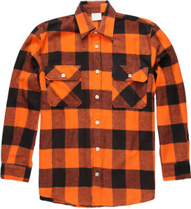 Image is loading Orange-Extra-Heavyweight-Brawny-Buffalo-Plaid-Flannel-Shirt 6b605926cab