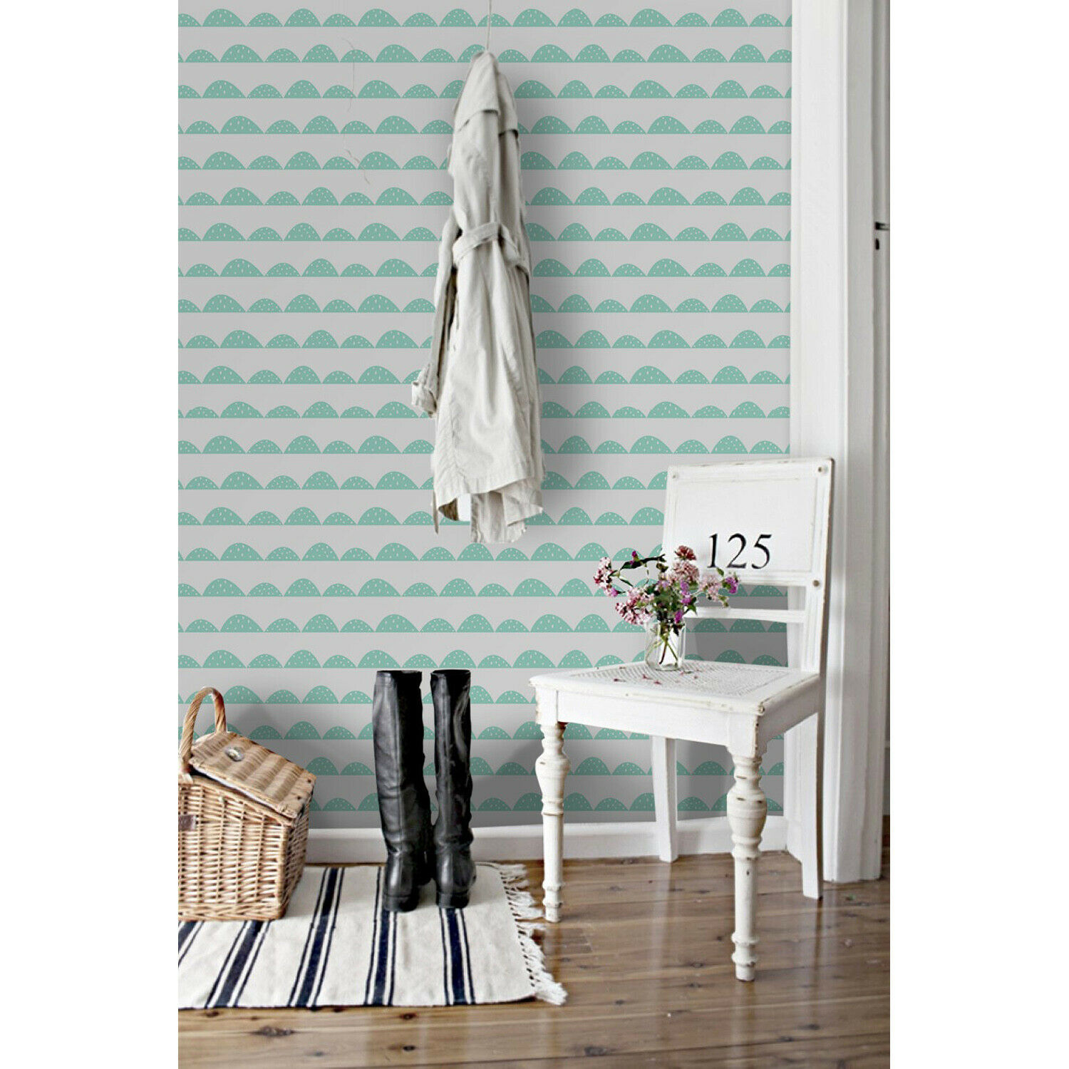 Mint hill rows Removable wallpaper Blau and Weiß wall mural wall decor