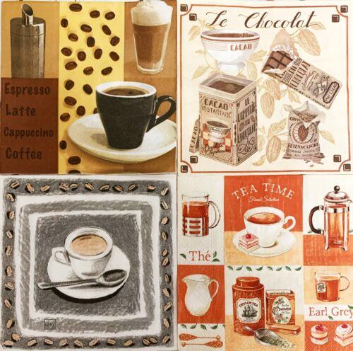 4x Servilletas Decoupage//mezcla de arte de papel taza de café Tiempo de Té de chocolate caliente