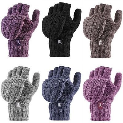 Heat Holders Womens Fleece Lined Patterned Knitted Winter Warm Thermal Mittens