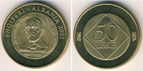 "UNC D /""100th anniversary of the death of J Albania Coin 50 Leke 2003 Rades/"""