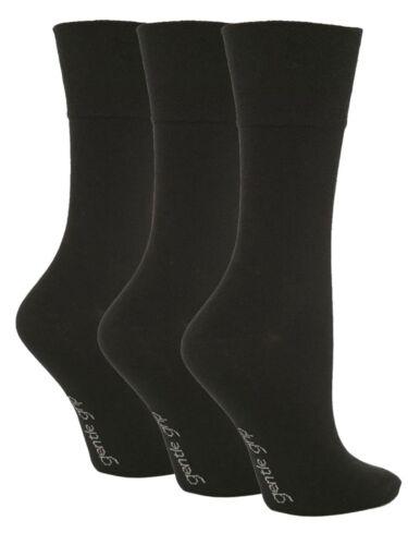 Black SOLRG67G3 3 Ladies Gentle Grip® Cotton Non Elastic Socks UK 4-8