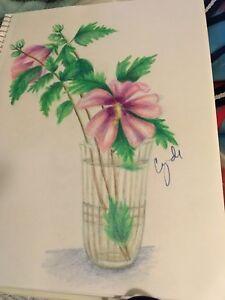 COLORED PENCIL drawing original rose of sharon ? flowers | eBay