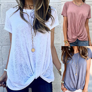 Womens-Summer-Shirts-Blouse-Casual-Loose-O-Neck-T-shirt-Short-Sleeve-Tops-Tee
