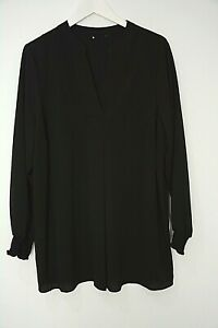 New-Ex-Evans-Black-V-Neck-Crepe-Textured-Shirred-Cuff-Blouse-Top-Plus-Size-14-26