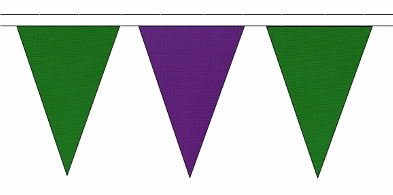 Mid vert & violet Triangular Flag Bunting - 50m with 120 Flags