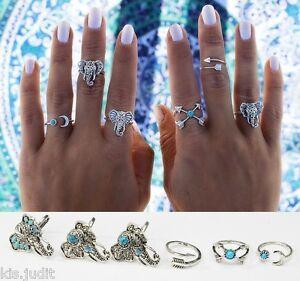 Bellissimo-set-di-6-anelli-midi-colore-argento-antico-Bohemien-Boho-Turkish