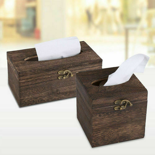 Napkin box Retro Wooden Tissue Paper Box Case Cover Napkin Holder Bar Home Decor