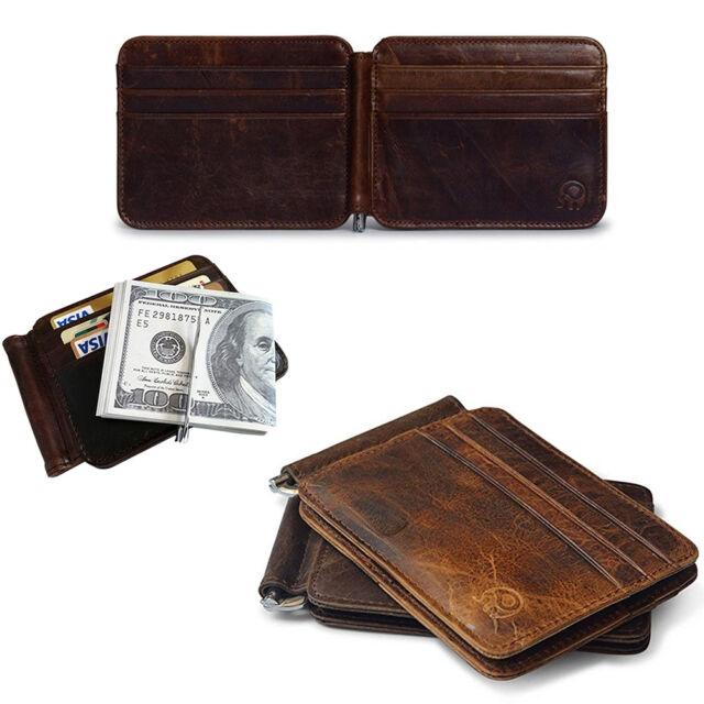Black Genuine LEATHER MEN/'S MONEY CLIP Bifold CARD Mens Wallet Front Pocket