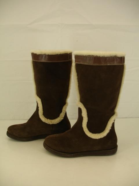 Womens 7 B M Cole Haan Air Jessup Brown Waterproof Sheepskin Shearling Fur Boots