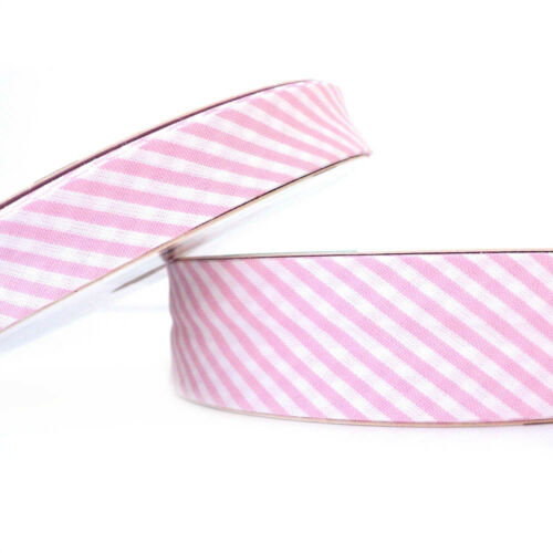 Stripe Bias Binding Cotton Fabric Folded Trim 18mm Pale Pink