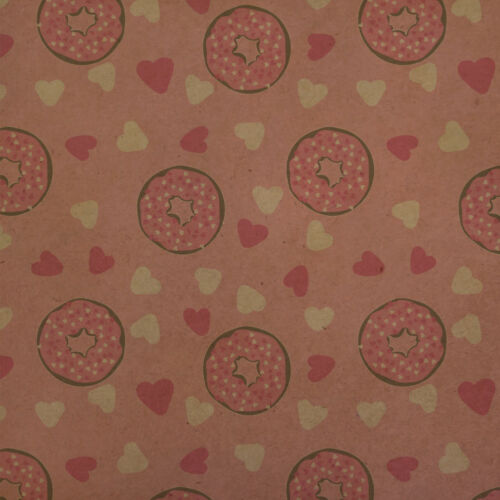Cute Chocolate Valentine Donut Pink Hearts Kraft Roll Gift Wrap Wrapping Paper