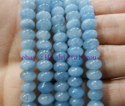"New Natural 5x8mm Brazilian Aquamarine Gem Round Loose Beads 15/"""