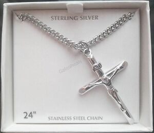 Mens 925 sterling silver crucifix cross pendant w24 necklace image is loading men 039 s 925 sterling silver crucifix cross aloadofball Image collections