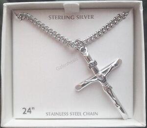 Mens 925 sterling silver crucifix cross pendant w24 necklace men 039 s 925 prata esterlina crucifixo cruz aloadofball Choice Image