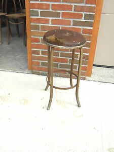 Mid Century Industrial Age Metal Bar Stool Leather Top