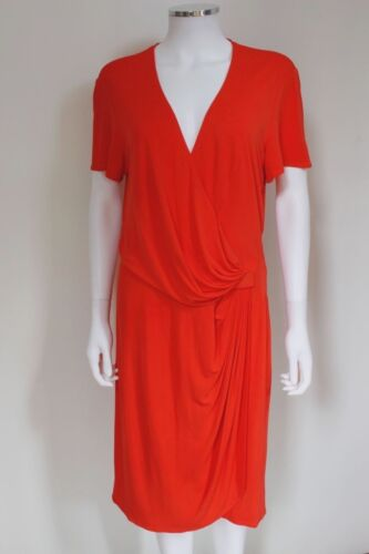 V Neck Issa Gathered Orange Side Uk Us 16 Dress 12 CnCqtfv