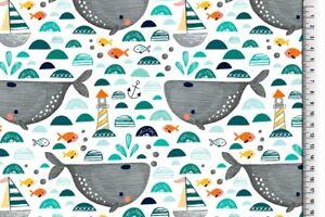 Jersey-034-Wale-034-Leuchtturm-Fische-gruen-mint-weiss-Kinderstoff