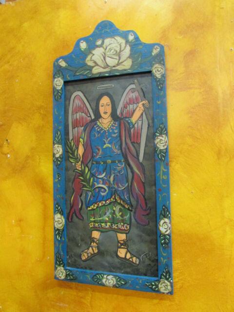 Archangel St. Michael Wood  Retablo #2-Mexican Folk Art-18x35--Signed-Velez-