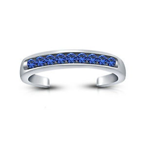 .925 Silver Blue Sapphire Channel- Set Adjustable Toe Ring