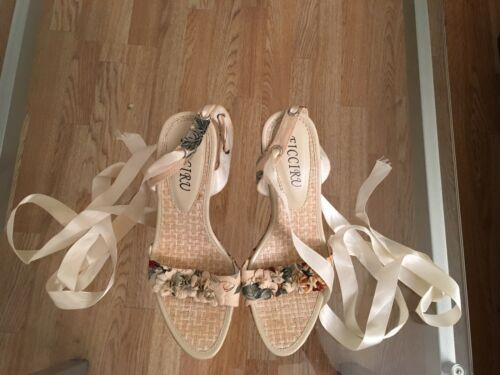 38 39 Taille Floral Vintage Design Pastel Chaussures New 6 Look Wedges uk 1xqztIB