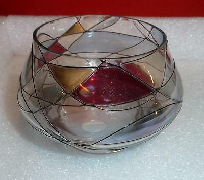 Partylite Tiffany Tealight Candle Holder Stained Glass Design NIB Free US Ship