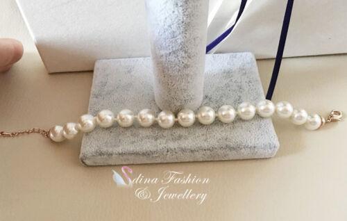 18K Rose Gold Filled Simple Elegant 0.8cm White Round Simulated Pearl Bracelet