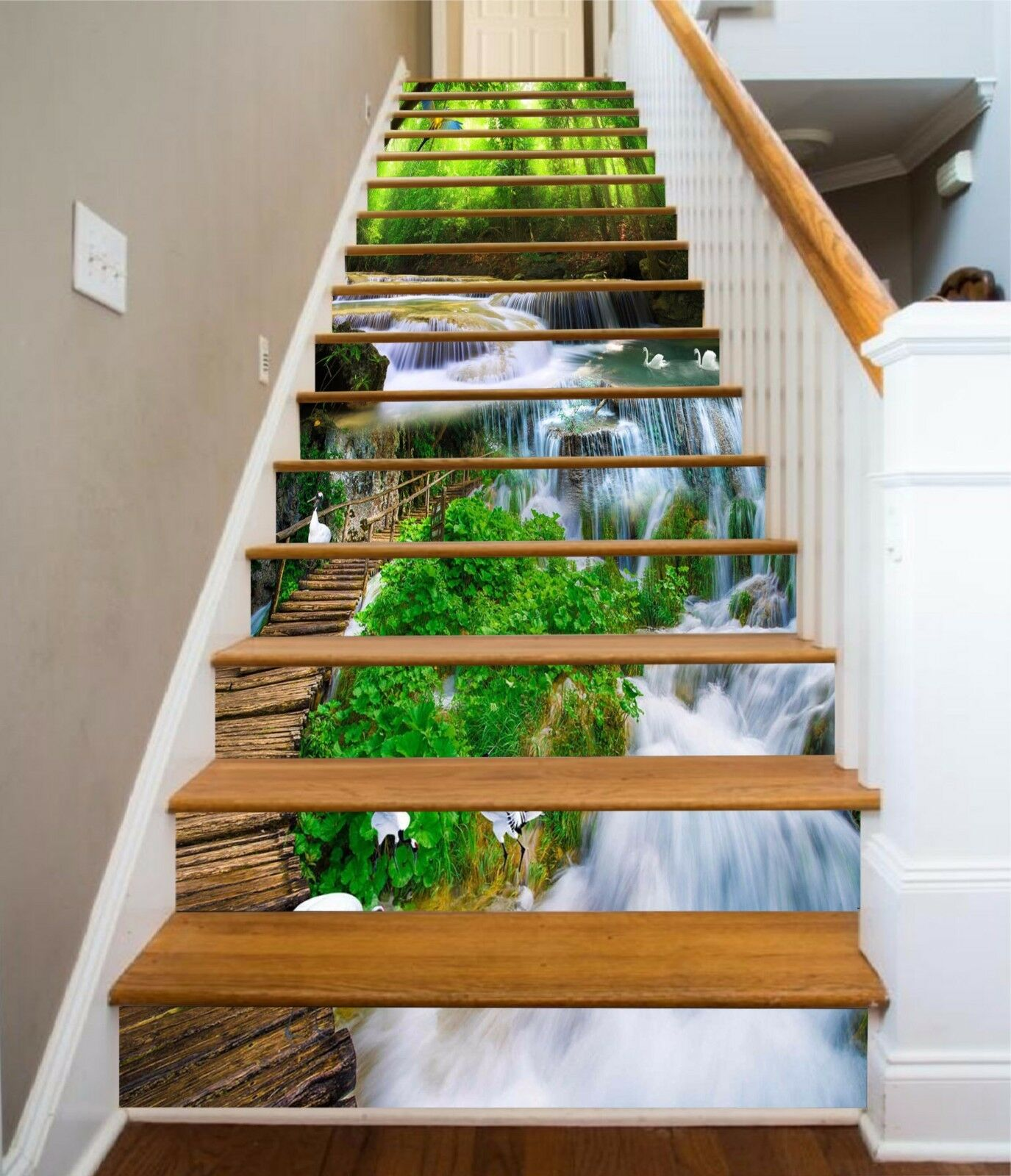 3D Forest Stream 88 Stair Risers Decoration Photo Mural Vinyl Decal Wallpaper AU