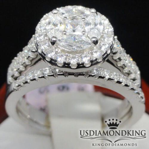 Big Top Ladies Sterling Silver White Gold Overlay Engagement Wedding Bridal Ring