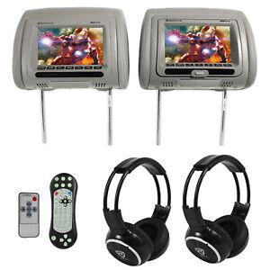 Rockville-RDP711-GR-7-Grey-Car-Headrest-Monitors-w-DVD-HDMI-Games-Headphones