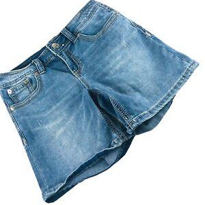7 SEVEN Blue Denim Chino Style Stretch Distressed Shorts Size 4 27X6